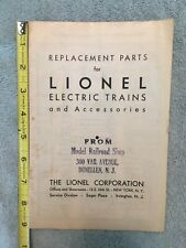 Lionel Replacement Parts and Accessory Catalog for 1934