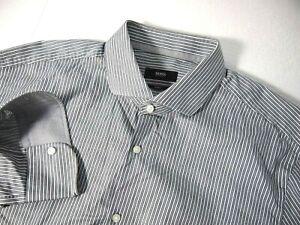 Hugo Boss Mens Dress Shirt 17 Slim Fit Grey White Blue Striped Collar Flip Cuff