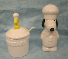 Snoopy Woodstock Chef Mustard Jar and Snoopy Shaker Porcelain