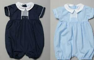Baby Boys Spanish Style Romper Suit Smocked Blue Navy Outfit 0 3 6 9 Months NEW