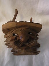 Vintage Italy Groednertal Fraco Carved Wood Wall Ornament Man #F