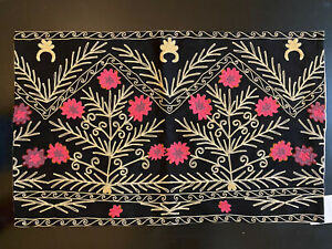 """Rare NIP Pottery Barn Taryn Embroidered Pillow Cover 16x26"""" Rare! Black Floral"""