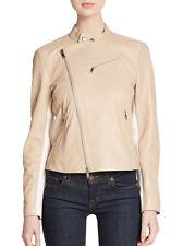 BNWT DKNY Asymmetrical Zip Lamb Leather Moto Jacket Powder Beige S,4,6 895