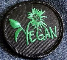 Vegan Vegetarian Flower Sew On, Iron On Patches