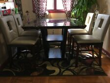 Contemporary Bar Dining Room table and 4 leather chairs