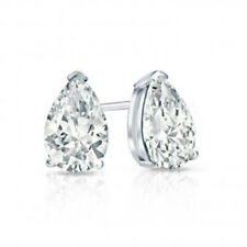 Basket Studs Solitaire Earrings 0.90 Ct Pear Moissanite Colorless Def