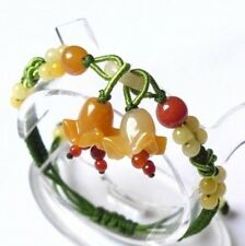 to do Adjustable Hand-knotted Yellow Jade Beaded 2 Orchid Flower Bracelet