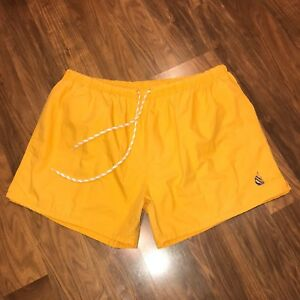 Vtg Swim Trunks NAUTICA Mens XL Yellow Gold 80s 90s Sailboat polo baggies Shorts