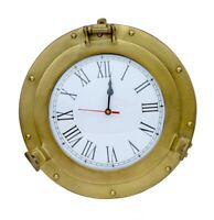 "12"" Aluminum Porthole Brass Antique Finish Ship Wall Clock Home Decor Porthole"