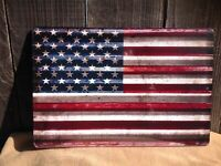 "Red White Blue American Flag Sign Vintage Garage Bar Wall LARGE 18"" X 12"""