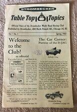 STROMBECKER TABLE TOP TOPICS VOL.1, NO.1 SPRING 1962 SLOT RACING NEWSLETTER