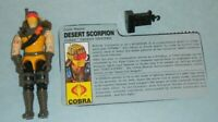 Lot 1991 GI Joe Cobra Desert Scorpion v1 Trooper Figure w/ File Card & Accessory
