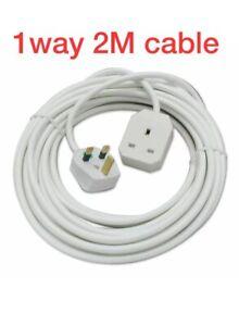 1 Way/gang/ Socket 2 Meter Cable/Extension Lead,13 Amp,uk 3pin Plug