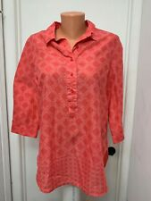Coldwater creek no iron  Cotton Blouse geometric button pull over  m medium