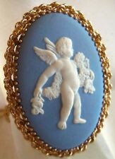 Wedgewood Made in England 12 K GF Cherub Angle Cameo Pendant Necklace beautiful