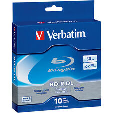 VERBATIM 6X Blu-Ray BD-R DL Dual Layer 50GB Branded Logo 10 pk Spindle Box 97335