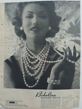 1957 Richelieu Bahama White bead necklace vintage jewelry original ad