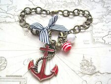 RED ANCHOR NAUTICAL Antique Gold Charm Bracelet Sailor Pearl Red Stripe Beads