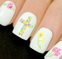 Easter Cross Flowers Tulip Nails Nail Art Decals Water Transfers Stickers V30