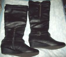 bamboo wedge  boots (Black) Fashion - Knee-HighMan Made,Med (1 3/4 in. to 2 3/4