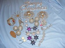 Christmas Plastic Christmas Tree Glittery Frosted Decorations Ornaments And Sign