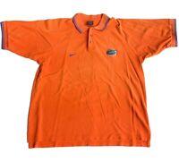 Vintage NIKE Florida Gators Team Shirt Polo Solid Orange Football NCAA M Medium