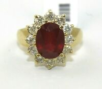 Oval Red Ruby & Diamond Halo Wide Solitaire Ring 14k Yellow Gold 5.12Ct