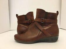 Ecco Abelone Cross Buckle Boot Mahogany Brown Women's Short Boots 38 / 7 - 7.5 M