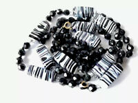Vintage Hand Knotted Long French Jet ZEBRA Black White Glass Bead Necklace 39""