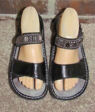 Alegria Size 39 9 US Women's Verona Pewter Bead Black Leather Slingback Sandals