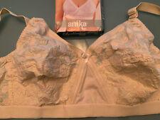 New embroidered pure cotton WIRE FREE Beige BRA Libertina Anika Size 40 C 102 cm