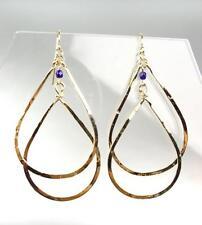 UNIQUE Artisanal Urban Anthropologie Gold Navy Crystal Dangle Earrings 128