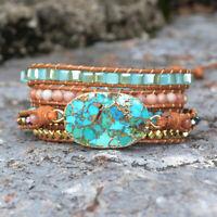 Handmade Boho Gold Copper Turquoise Matte Bead Leather Wrap Bracelet Unisex Gift