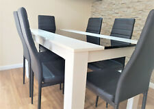 Modern white and black wood dining Table with 4 or 6 black white Leather chairs