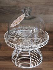 Countryfield - Etagere / Kuchenplatte aus Draht mit Glaskuppel - weiß rustikal
