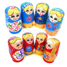 5Pcs New Dolls Wooden Russian Nesting Babushka Matryoshka Hand Painted Gift Toy