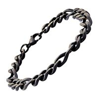 Men's Oval Cuban Link Figaro Bracelet in Black Ion-Plated Stainless Steel, 9""