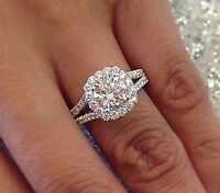 1.30 Ct Round Cut Diamond Halo Engagement Ring Split Shank F,SI1 GIA 14K WG New