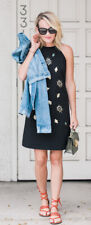 NWT Victoria Beckham Embellished Bee Black Dress Sz Large L Medium M Small S