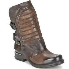 Women's Genuine Leather Motocycle Combat Combat Buckle Punk Ankle Boots Vintage