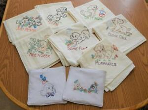 """7 """"PLAYFULL COCKER PUPPY"""" EMBROIDERED FLOUR SACK DISH TOWELS with HOT PAD #103"""