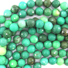 """Natural Faceted Green Chrysoprase Round Beads 15.5"""" Strand 4mm 6mm 8mm 10mm 12mm"""