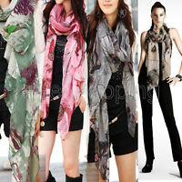 Women Girl Soft Begonia Voile Ink Flower Stole Cotton Shawl Scarf Wrap Nice