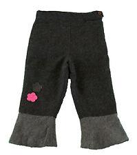 JACADI Girl's Appeler Gravel Grey Pants With Flower Designs Sz 3 Years NWT $66