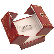 Jewelry Ring Box Two Door Red Leatherette Ring Gift Engagement Wedding Case Hold