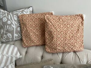 Vintage LAURA ASHLEY Sitwell Brick Traditional Pair Cushion Covers