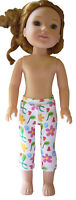 """Floral /& Heart Capri/'s Leggings for 14.5/"""" Wellie Wishers Doll Clothes HANDMADE"""