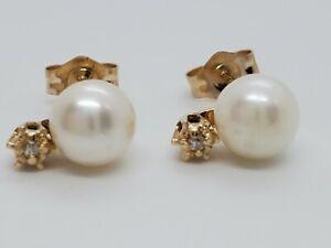 14k Yellow Gold Classic 5.9mm Cultured Pearl Diamond Bottom Stud Earring Estate