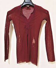 JEAN PAUL GAULTIER Soleil Vintage Semi-Sheer Tunic Top Size M Stretch Nylon Red