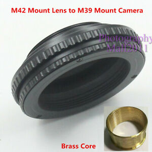Brass M42 to M39 10mm-15mm Adjustable Macro Tube Focusing Helicoid Mount Adapter